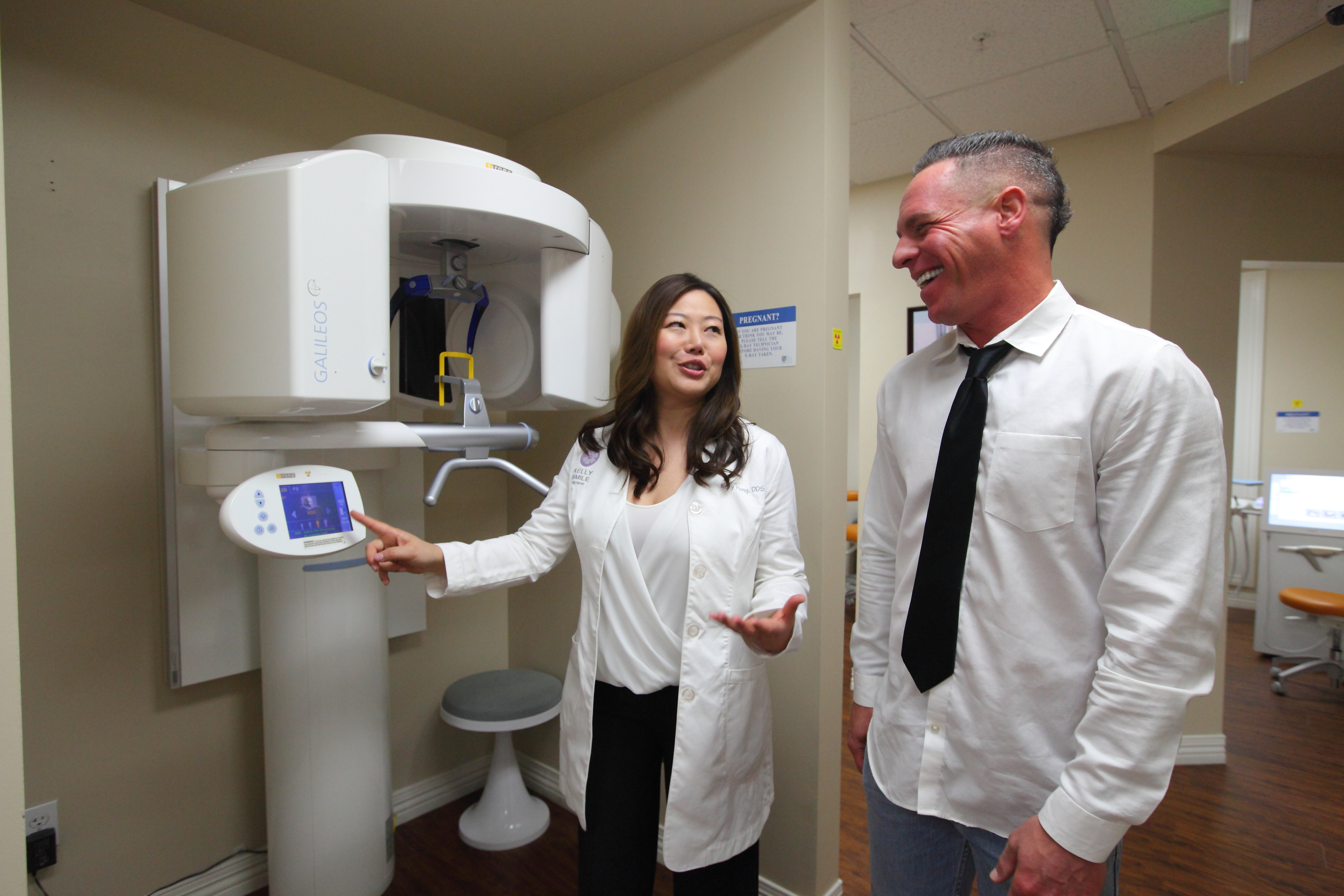 a patient at a Galileos Comfort Plus 3D scanner at dentist office in Victorville, CA.